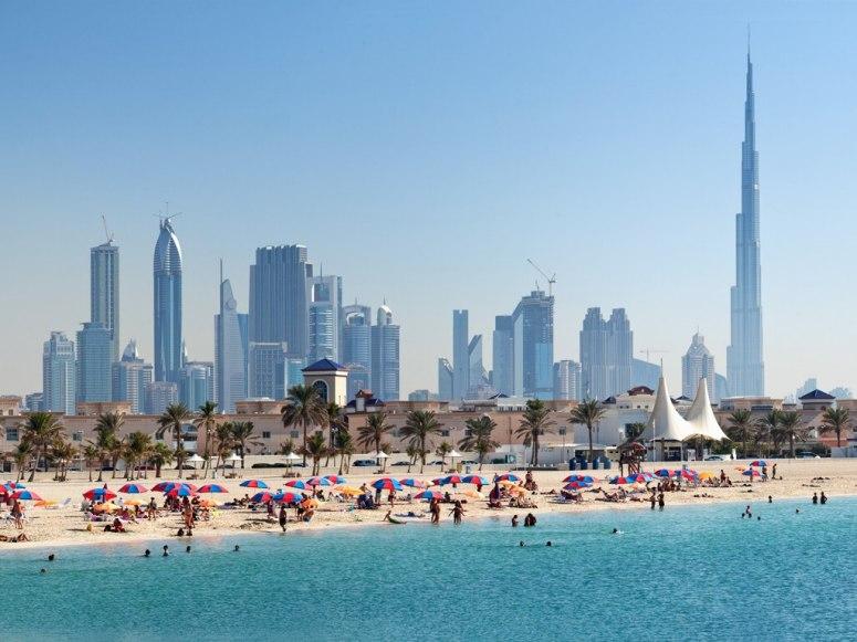 View of Dubai skyline from the beach