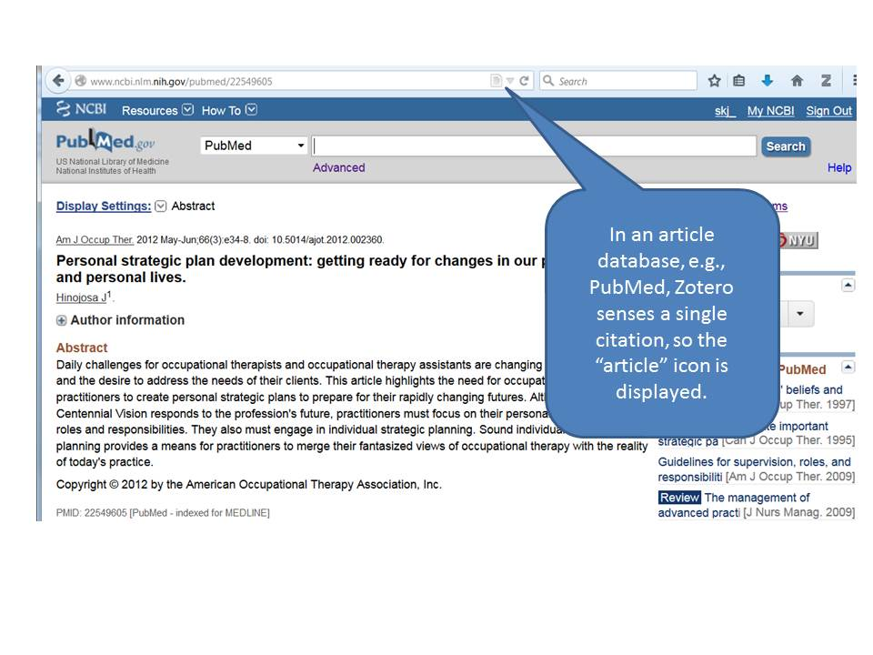 """Image of Zotero capture icon in a web browser above a PubMed search. Caption reads """"In an article database, e.g. PubMed, Zotero senses a single citation, so the 'article' icon is displayed."""""""