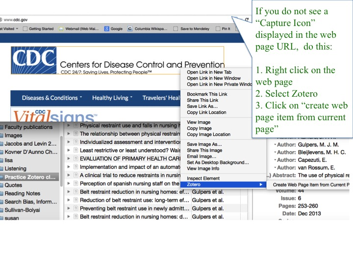 Screenshot of web page from the Centers for Disease Control.