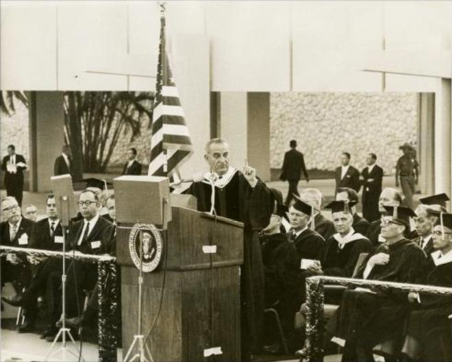 LBJ at the dedication of FAU