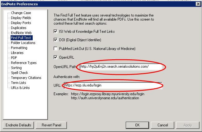 EndNote X5 Preferences Screen