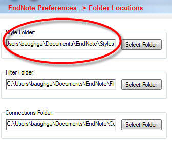 EndNote Preferences File Locations