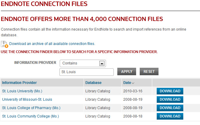 Connection Files from the Web