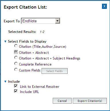 OvidSP Export Citation Box
