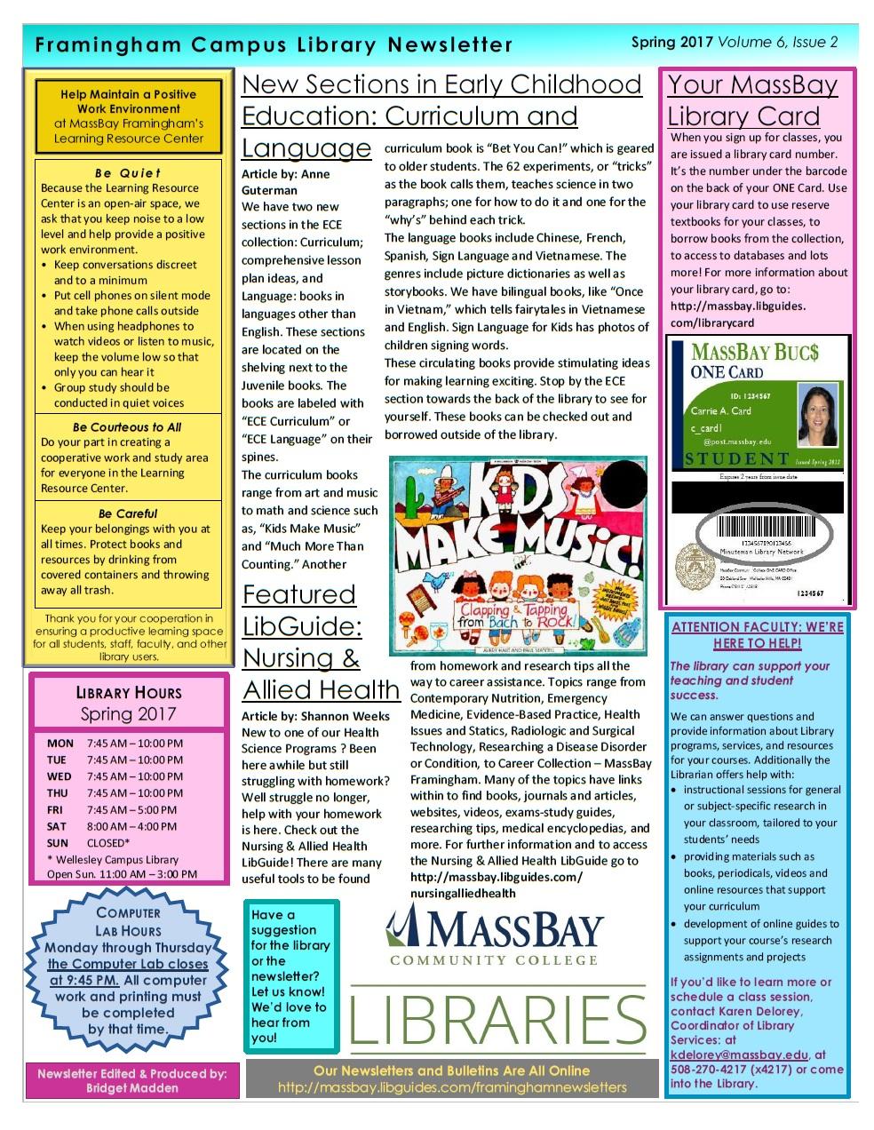 MassBay Library Framingham Newsletter Spring 2017