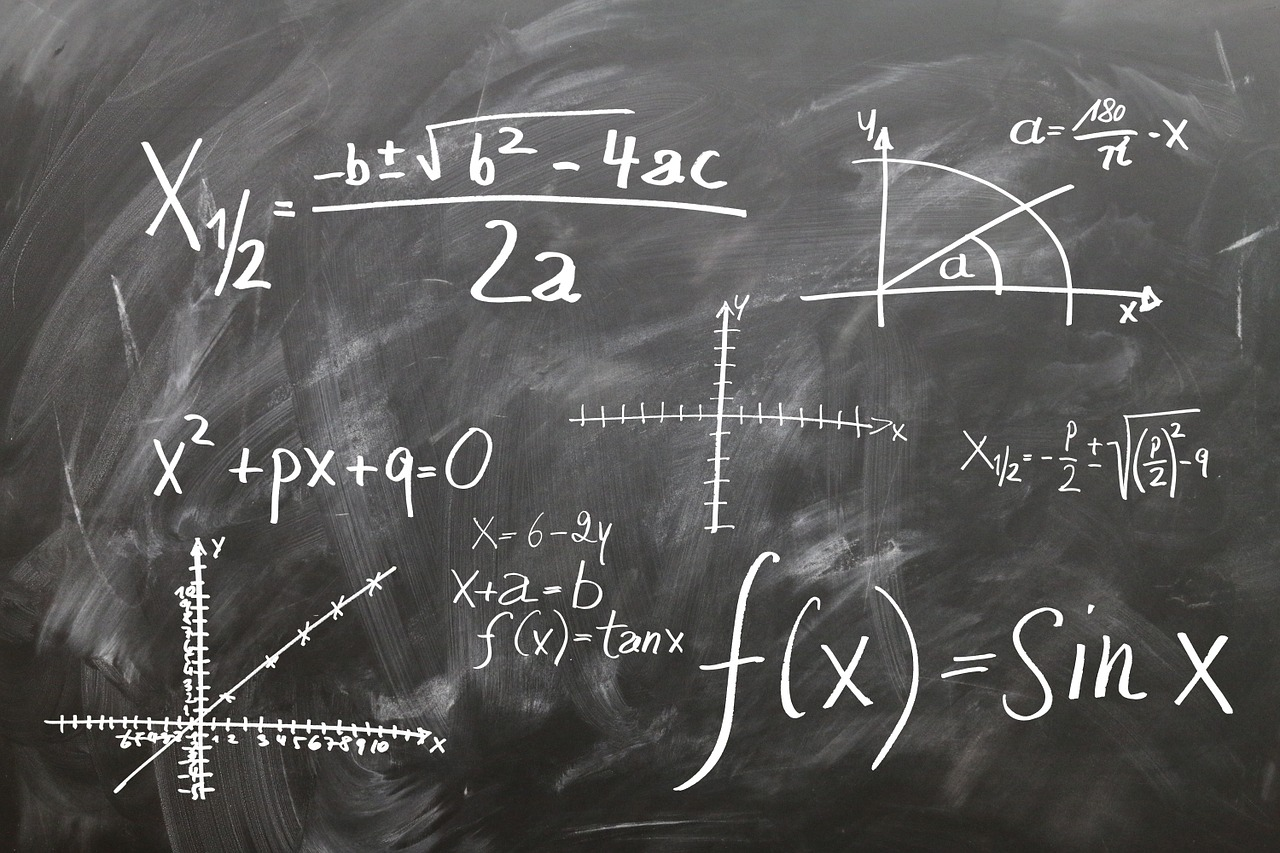 chalkboard drawing of math equations