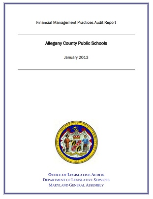 Image of the cover of a Maryland audit report.