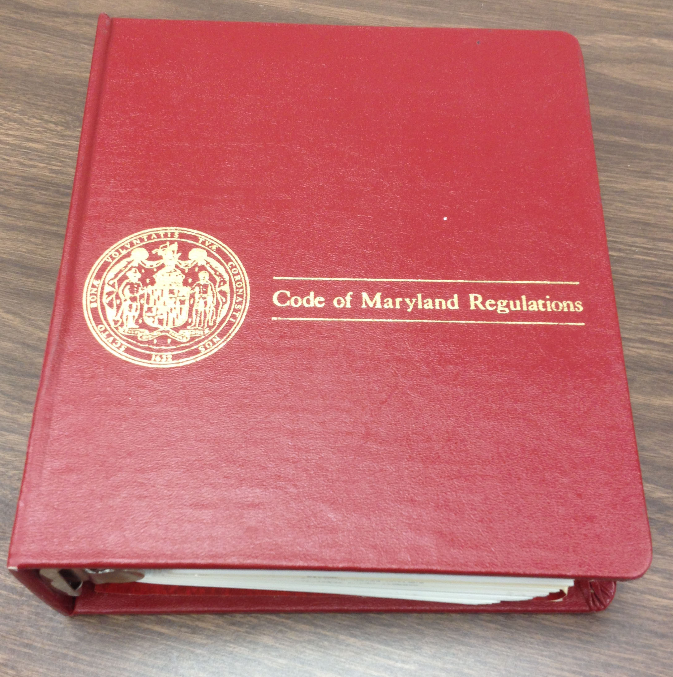 Image of one volume of the Code of Maryland Regulations