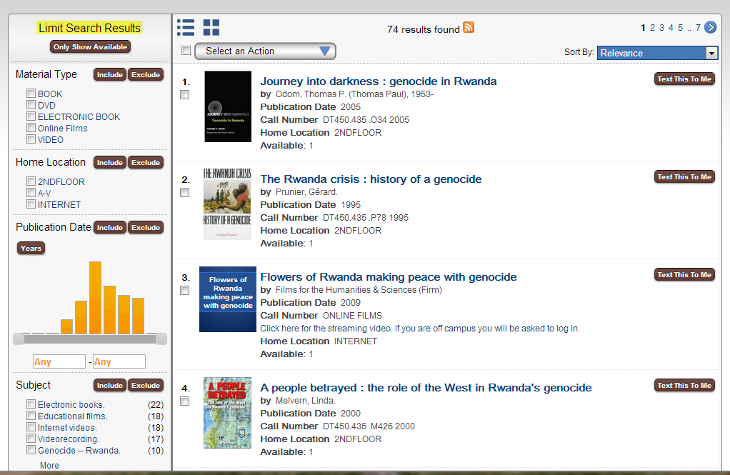 Screen shot of limit search results in OCCC Library Catalog