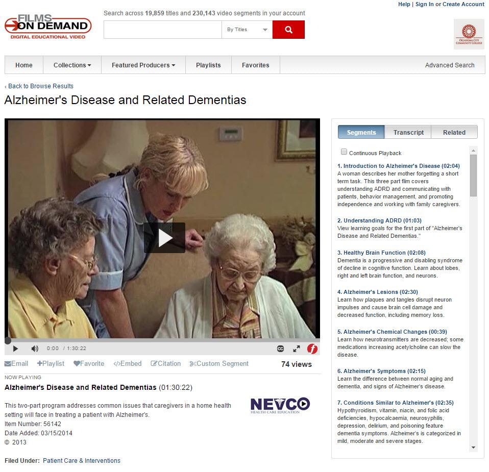 Screenshot of Films on Demand video