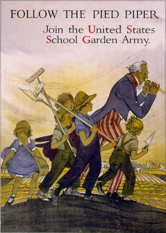 WWI-era poster for US School Garden Army