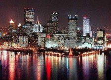 Panoramic night scene of Pittsburgh