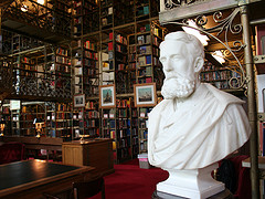 Bust in a library