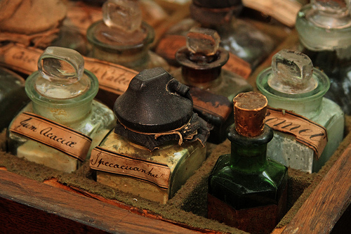 Antique pharmacy bottles