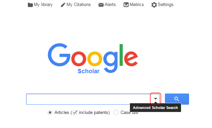 google scholar downward arrow