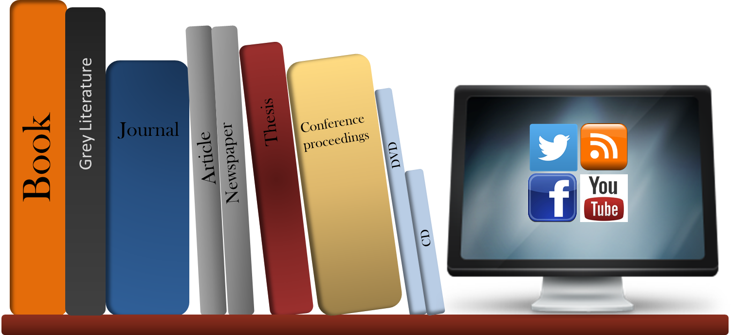 Resources to include in your literature review - books, grey literature, journals, articles, newspapers, conference proceedings, DVDs, CDs, and social media