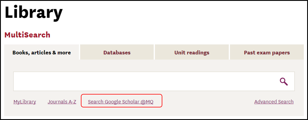 Google Scholar in MQ home page