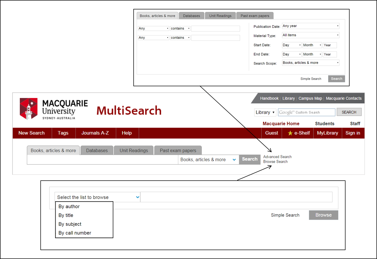 MultiSearch screenshot showing advanced and browse search options