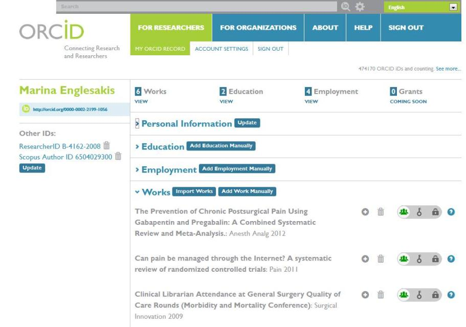 ORCiD id registered with ResearherID and SCOPUS