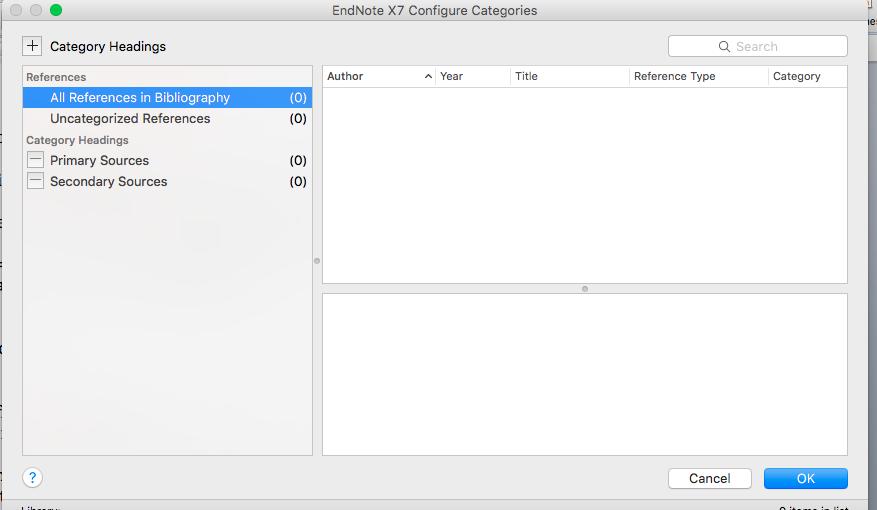 Categorise references screenshot