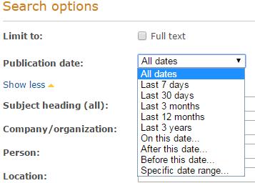 Publication date filter screenshot