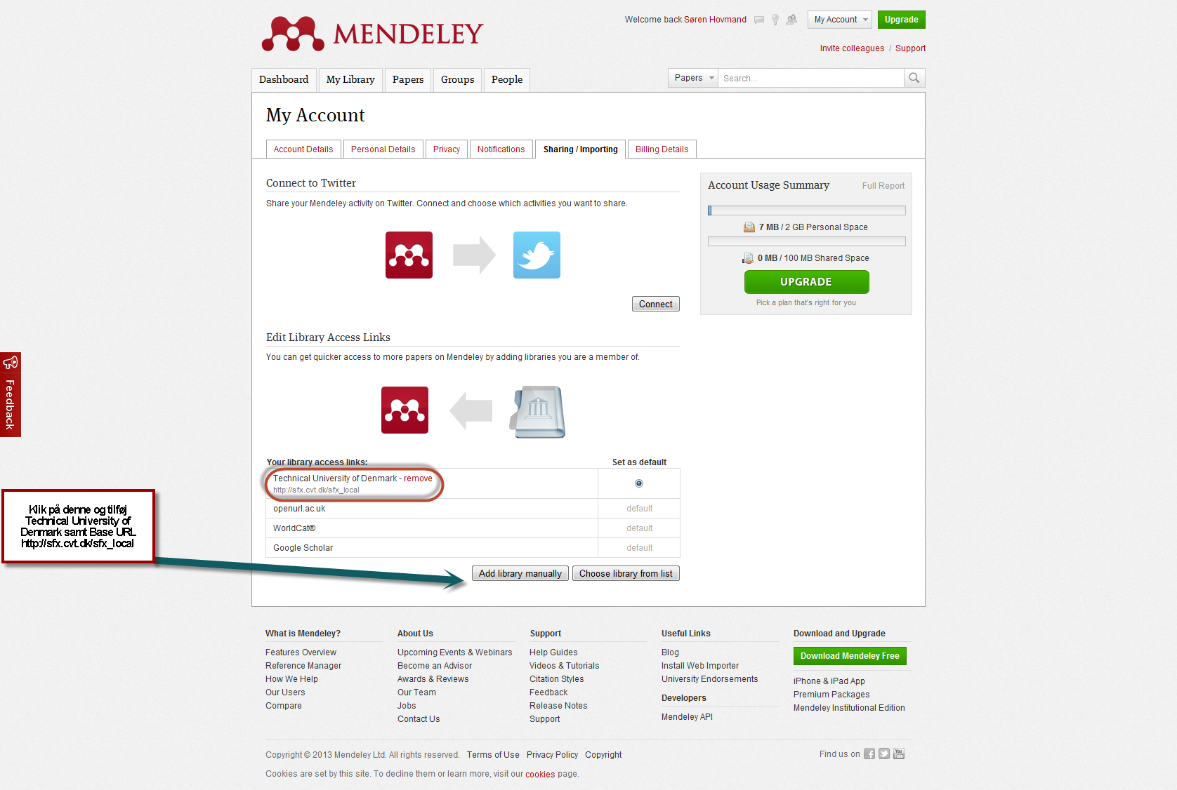 mendeley add open url