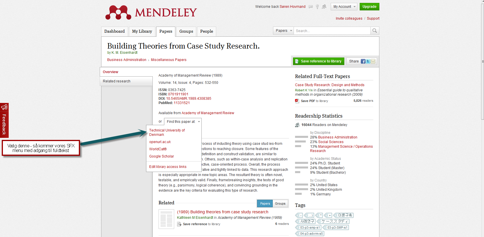 Open url in Mendeley web