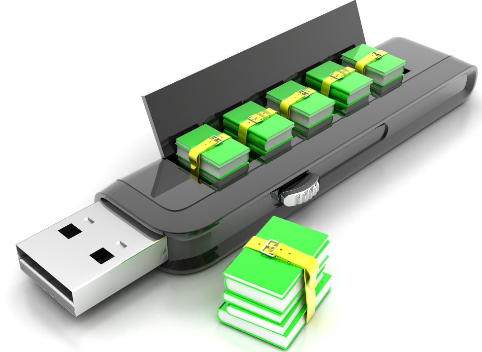 giant thumbdrive with stacks of books inside