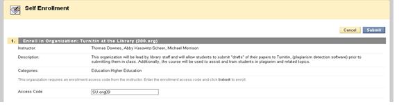 Screenshot of entering access code