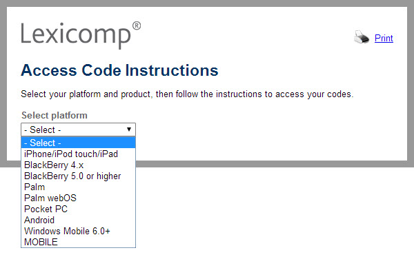Lexicomp Online instructions and product codes