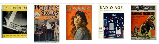magazine covers for the titles Business Screen, Picture Stories, Motion Picture Classic, Radio Age and Film Daily