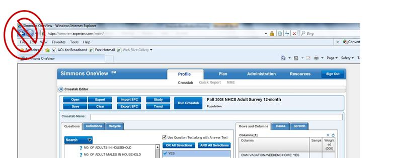 Simmons Oneview search interface via Internet Explorer browser