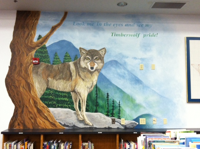 Timberwolf Mural in Library