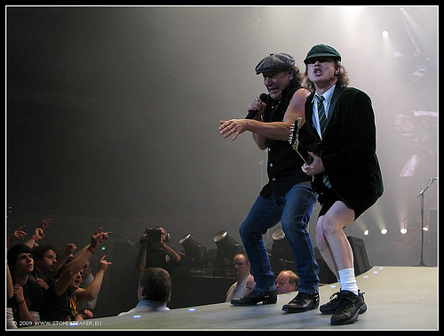 Angus Young and Brian Johnson of AC/DC opening the show in Dortmund by t.klick via Flickr