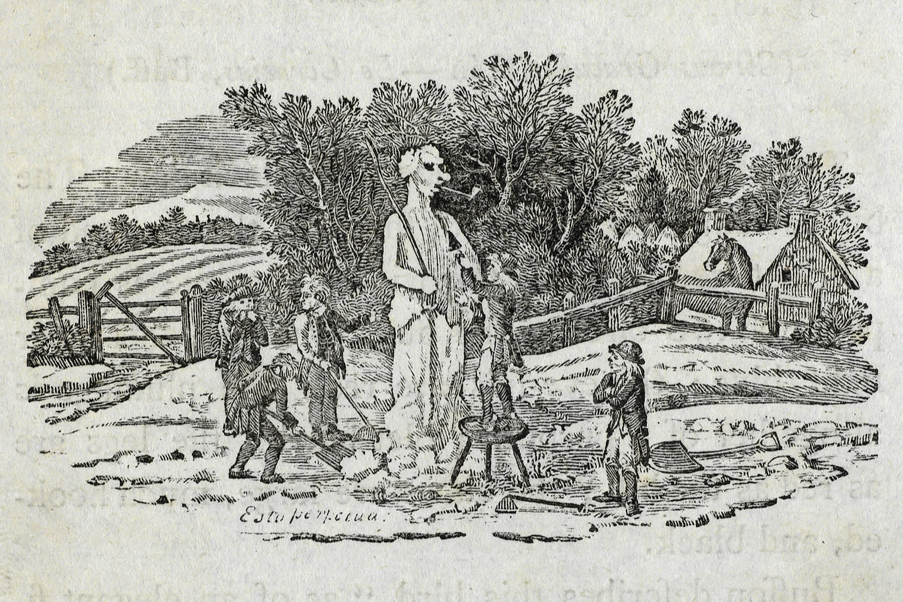 Building a snowman at Cherryburn. Thomas Bewick (Special Collections: Bradshaw-Bewick collection)