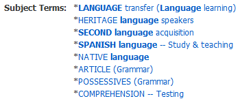 screenshot of subject terms listing