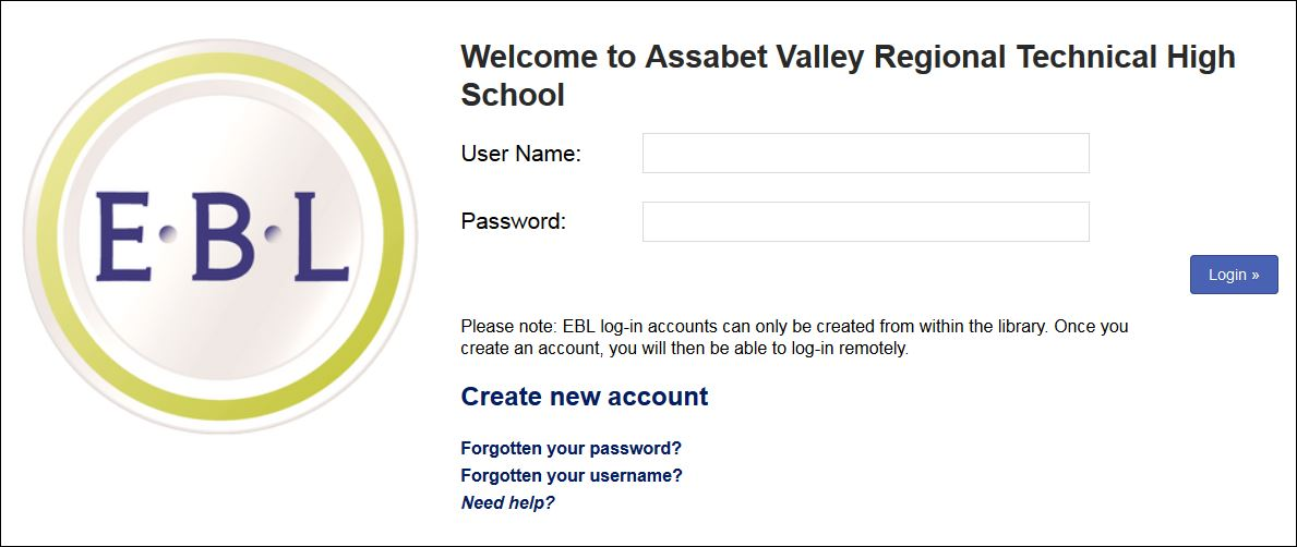 EBL create or log in to account