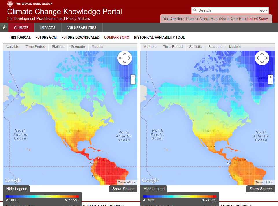 World Bank example image showing future temperature with different climate models.