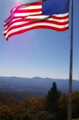 Flag on top of Brasstown Bald