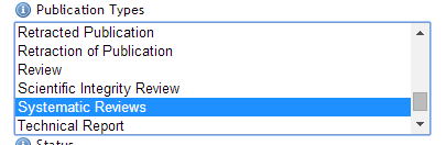 Select Systematic Reviews form the menu for Publication Types