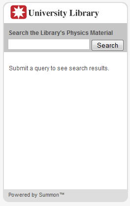 Screenshot example of a search widget