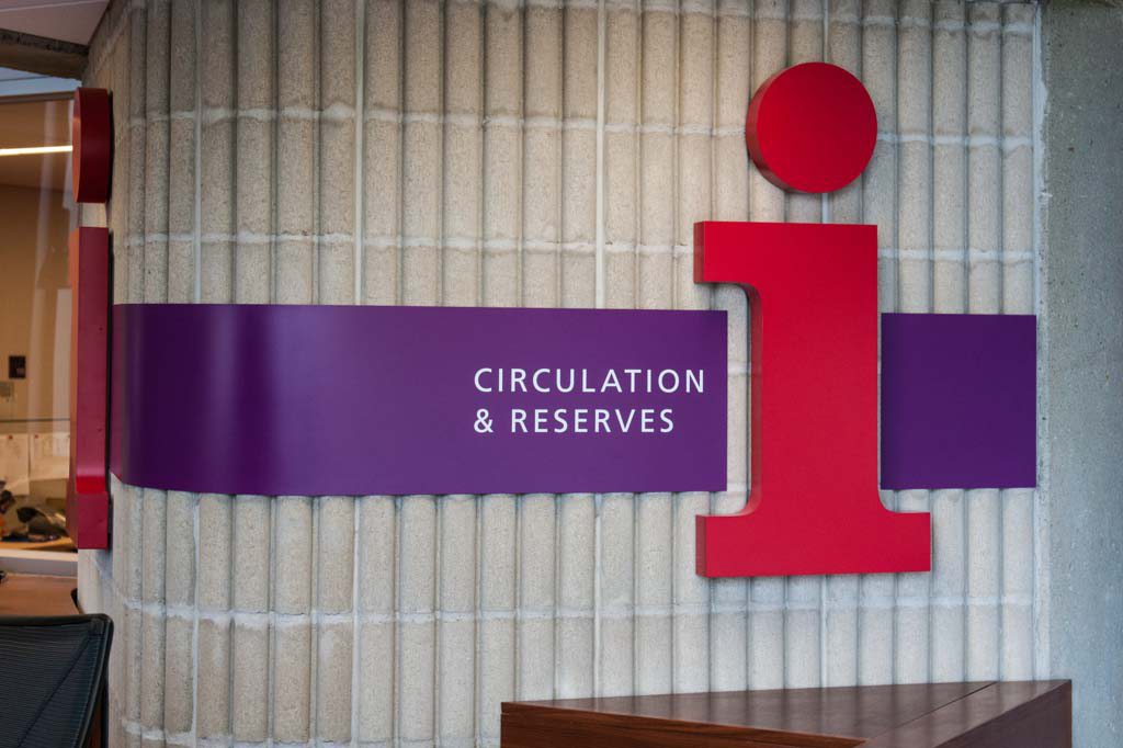 Picture of the Circulation & Reserves sign at the Circulation desk