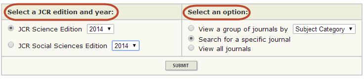 JCR Main Search Options