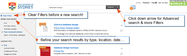 Snapshot of CrossSearch with explanation tags