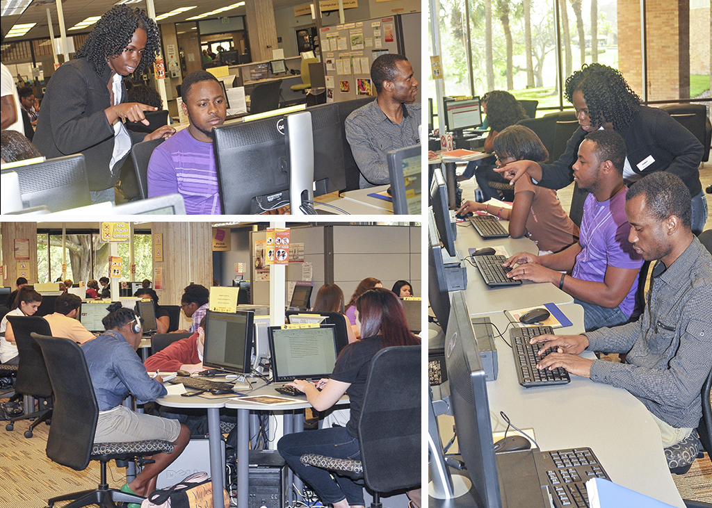 collage image of students getting assistance in the computer access lab