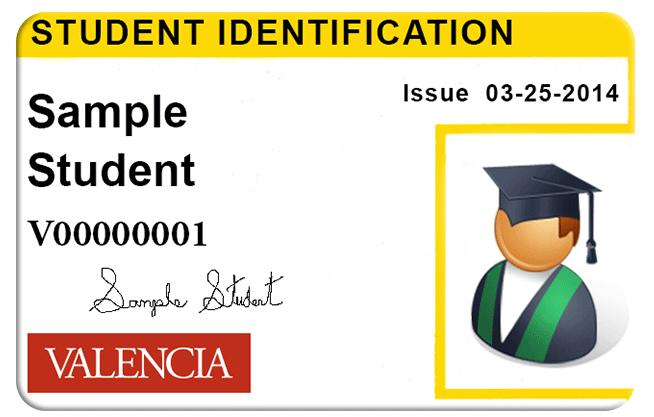 image of Valencia student ID