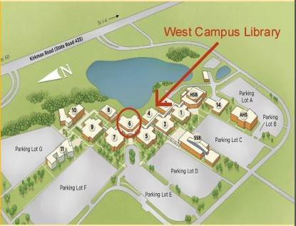 image of campus map - west campus library is located in building 6