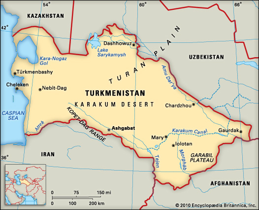 Political map of Turkmenistan