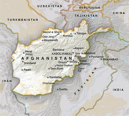 Map of Afghanistan and surrounding countries