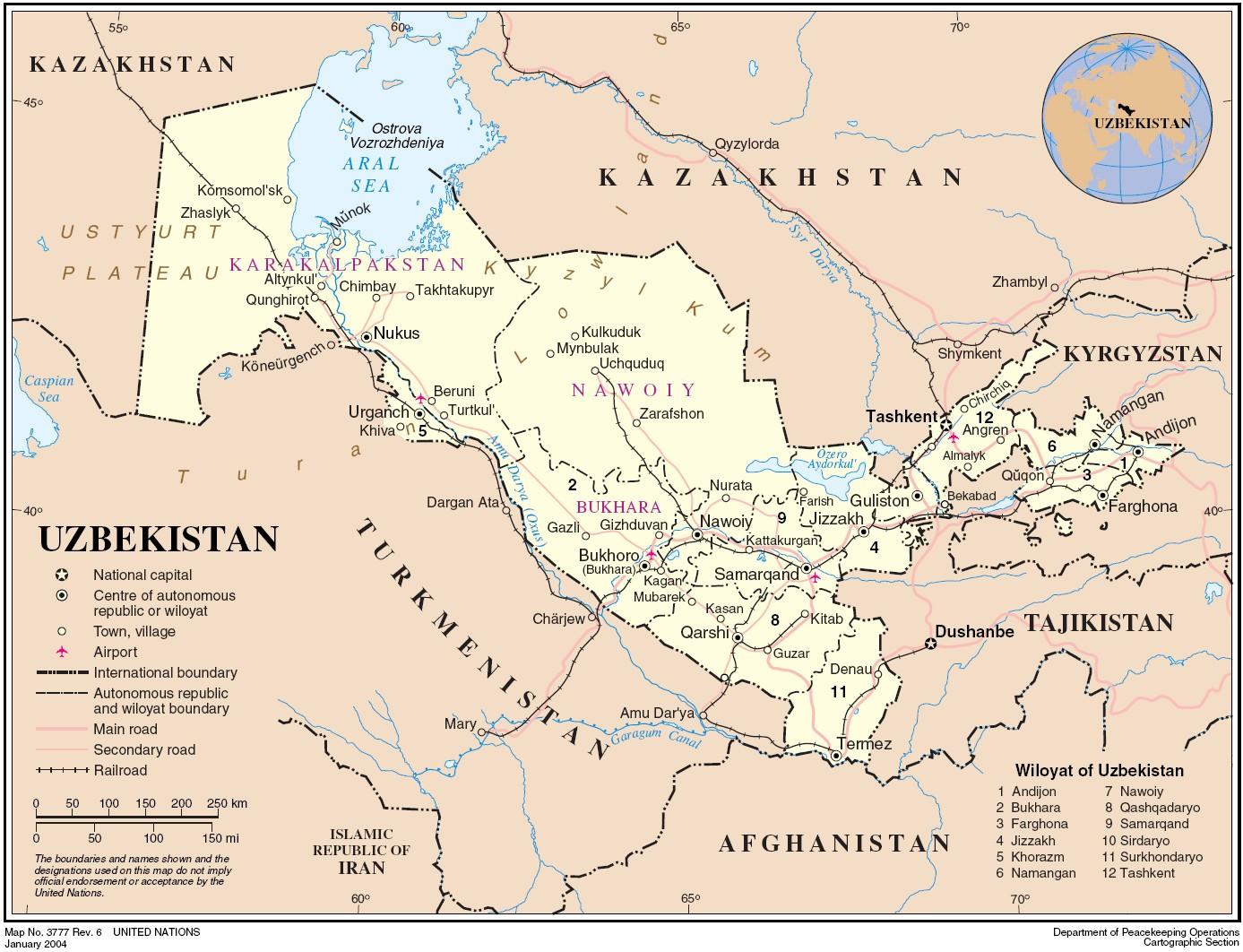 Political map of Uzbekistan